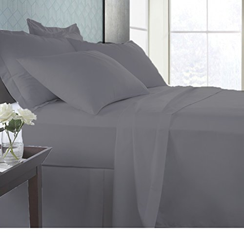 SPA Beddings Presents 4 PC Sheet Set 100% Egyptian cotton 600 Thread Count Premium Sheet Set, Luxurious Feel Italian Finish Comfort Sheet Set Comes with 19'' Deep Pocket Cal-King Elephant Grey by SPA Beddings