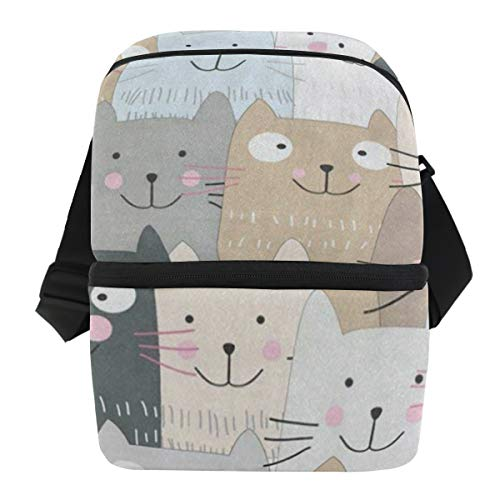 Lovexue Lunch Bag Cute Funny Black Gray Cat Portable Cooler Bag Adult Leakproof Thermos Organizer Zipper Tote Bags for Wine