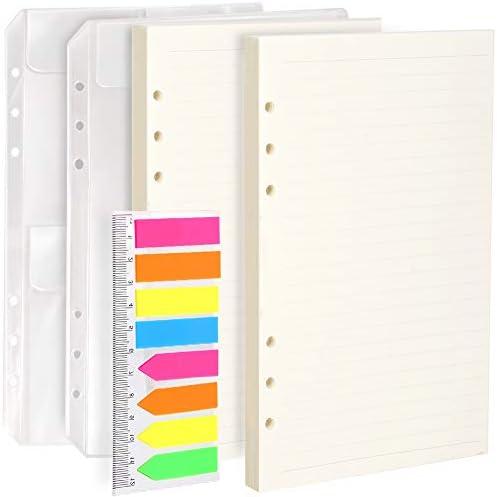2 x A5 Nachfüllpapier & 2 x A5 lose Taschen & 1 Packung 160 Stück Index-Tabs mit Lineal, Leobro A5 6 Löcher nachfüllbares Bastelpapier für 6 Ringbinder, Leder-Notizbücher