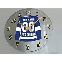 Hockey Wall Clocks - 12 X 12 X 2 N H L Jersey Themed Clock - Atlantic Division - Let's GO Editions !! (Let's Go Lightning Edition)