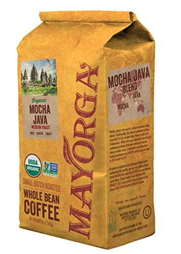 Mayorga 100% Organic Mocha Java Whole Bean Coffee Medium Roast, 2 Pounds