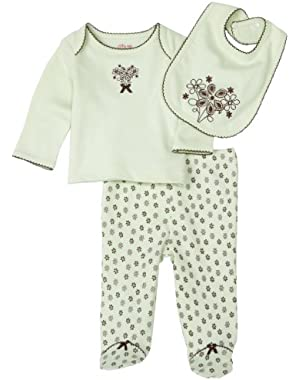 Floral Bouquet Lap Shoulder Set with Bib, Mint Print