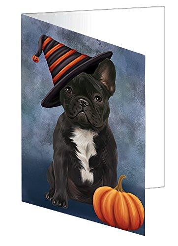 Happy Halloween French Bulldog Dog Wearing Witch Hat with Pumpkin Greeting Card D478 (Happy Halloween French)