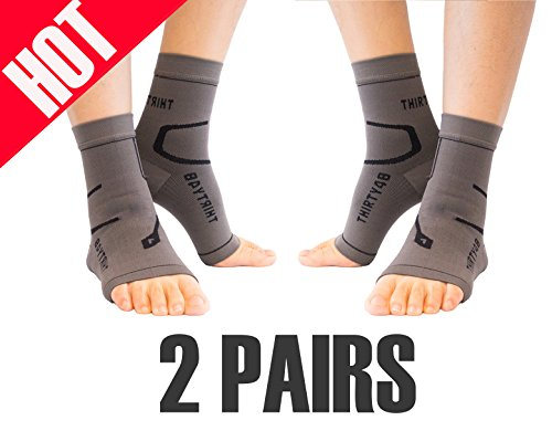 Thirty48 Plantar Fasciitis Socks, 20-30 mmHg Foot Compression Sleeves for Ankle/Heel Support, Increase Blood Circulation, Relieve Arch Pain, Reduce Foot Swelling (Grey & Grey (2 Pairs), X-Large) (Best Ankle Support For Sprain)