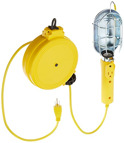 Bayco Products SL-450 Metal Shield Incandescent Utility Light with Grounded Receptacle on 20' Retractable Reel (Light Reel Incandescent)