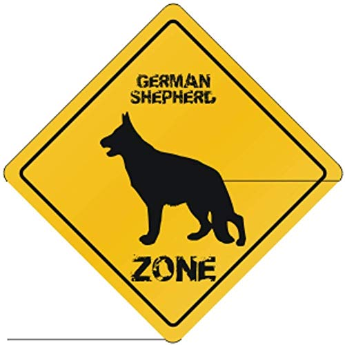 Fhdang Decor German Shepherd Zone Silhouette Dogs Metal Sign Crossing Sign Aluminium Signs,12x12 Inches