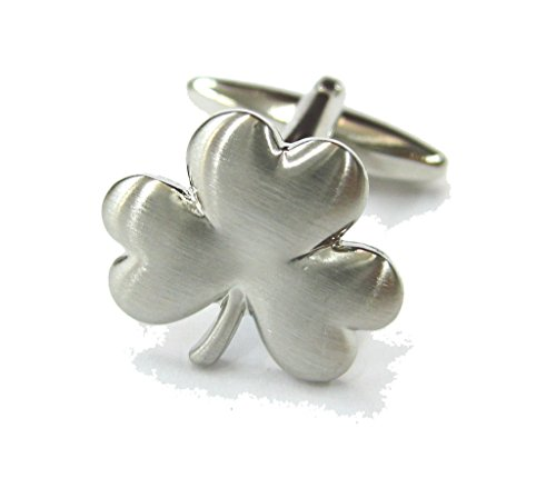 Executive Cufflinks (Mens Executive Cufflinks Matte Silver Tone Young Spring Shamrock Clover Cuff Links)