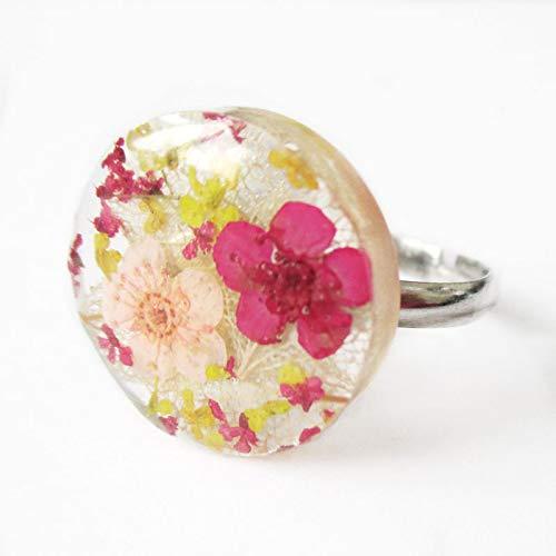 Résine En Fleurs Rose Jaune Et Luna Bague Ronde Nature Bijou R3jA54qL