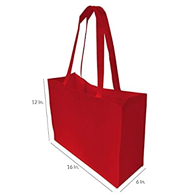 """16"""" W X 12"""" H X 6"""" D Large Size Reusable Grocery Bags, Heavy Duty Shopping Bags, Gift Bags, Boutique Bags - 12 Pcs."""