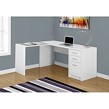 monarch specialties i white corner with tempered glass computer desk