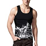 Beew Men Tanks Mens Tees 3D Print Slim Sleeveless Cool Tank Tops Shirt Workout Muscular Blouse Vest (L, Black)