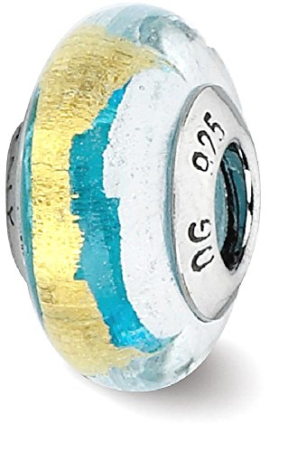 ICE CARATS 925 Sterling Silver Charm For Bracelet Turquoise/silver/gold Italian Murano Bead Glas Fine Jewelry Gift Valentine Day Set For Women - Cute Glases