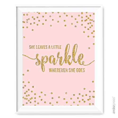 Andaz Press Blush Pink Gold Glitter Girl's 1st Birthday Party Collection, Wall Art Gift, 8.5x11-inch, She Leaves a Little Sparkle Wherever She Goes, 1-Pack, Unframed -