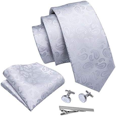 ネクタイ 4点セット ポケットチーフ カフスボタン タイピン ホワイト 小柄ペイズリー