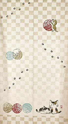 Narumi Japanese Noren Curtain Tapestry Temari Neko Cat with a Traditional Japanese Handball Cotton 85 x 150 cm