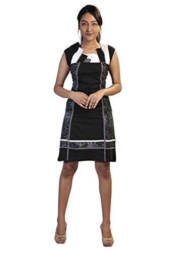 c robe noir imprime t et manches Noir blanche Sans de nqtUA0H6q