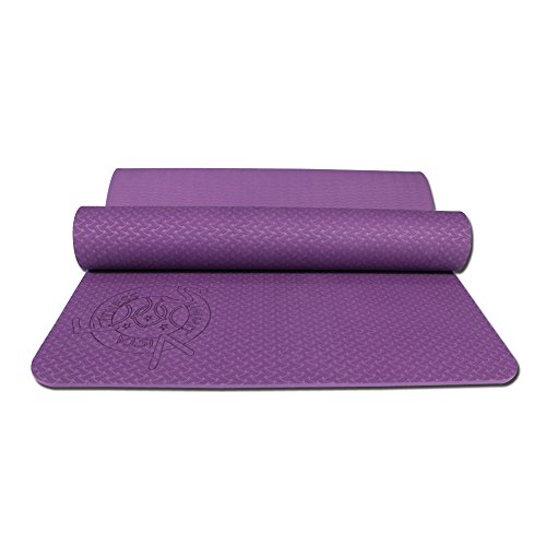 Exercise Pilates Thick Yoga Mat- Reversible Eco Friendly 6mm Light Weight, Ideal for Hot Yoga. (Purple)