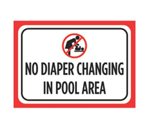 Aluminum Metal No Diaper Changing In Pool Area Print Black White Large Poster Picture Symbol Attention Public, 12x18