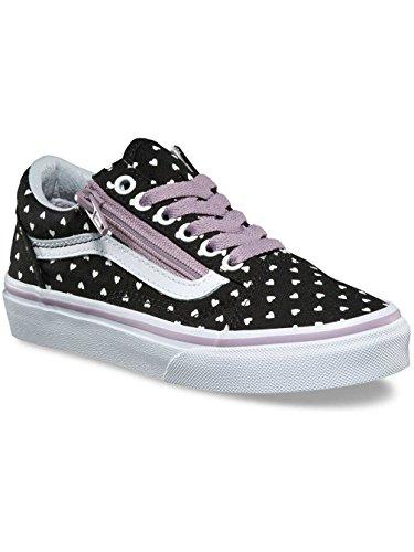 Vans UY Old Skool Zip (Micro Heart) Black/Sea Fog VN0A38HEOFJ Kids 6 (Girl Vans)