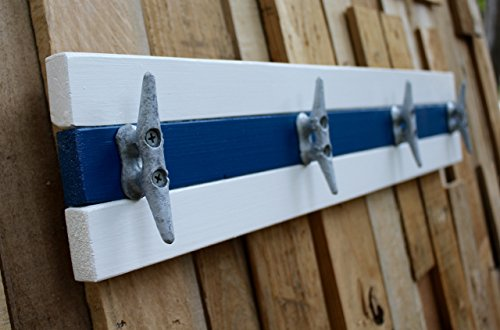 Nautical Boat Cleat Coat Rack, Towel Rack, or Hat Rack, White and Blue