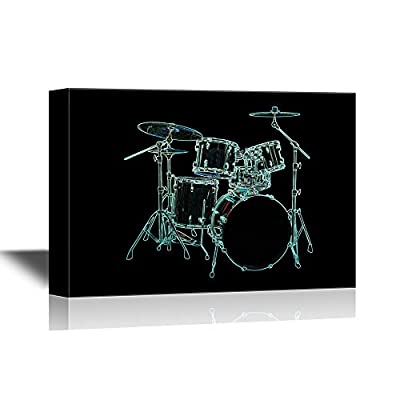 Canvas Wall Art - Cool Drum Set on Blackground - Gallery Wrap Modern Home Art | Ready to Hang - 12x18 inches