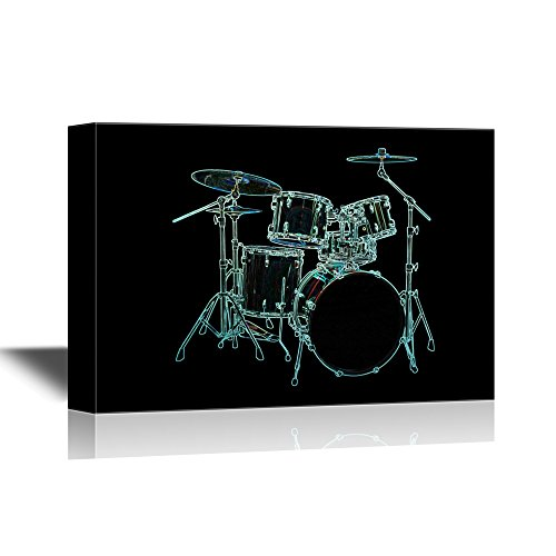 wall26 - Canvas Wall Art - Cool Drum Set on Blackground - Gallery Wrap Modern Home Decor | Ready to Hang - 16x24 inches