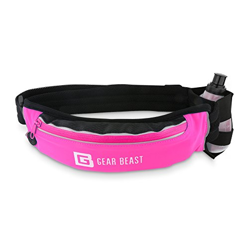 Gear Beast Pink Running Belt Fanny Pack Waist Bag Waterproof Bounce Free Pouch, Hydration Holster BPA Free Bottle, Adjustable Padded Belt for iPhone X 8 7 6s 6 Plus Galaxy S6 S7 Edge S8 Plus Note 8 Denver Broncos Pink Zip