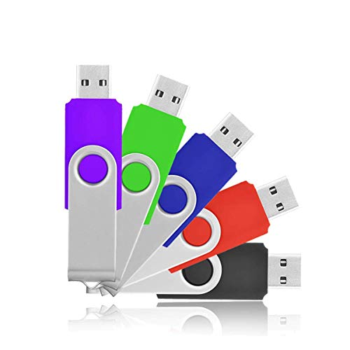 2GB Flash Drives, HKUU 5 Pack USB 2.0 Memory Stick Fold Storage Thumb Disk Pen Drive Swivel Design (5 Colors)