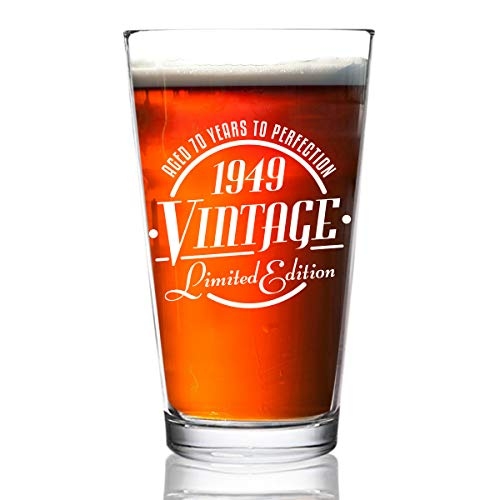 1949 Vintage Edition 70th Birthday Beer Glass for Men and Women (70th Anniversary) 16 oz- Elegant Happy Birthday Pint Beer Glasses for Craft Beer | Classic Birthday Gift, Reunion Gift ()