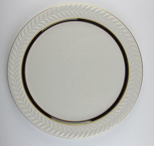 Shenango China Carlton Raised Laurel Rim Gold Trim Black Band Center