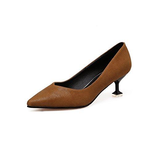 Xue Schuhe Qiqi Niedrig mit Einzelnen Schuhe Xue Weibliche Licht Düsenspitze, die High-Heel Schuhe Fein mit Arbeit Schuhe Frauen Schuhe Braun 12f7c8