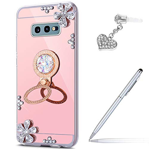 Price comparison product image ikasus Case for Galaxy S10e Diamond Case, Crystal Inlaid diamond Flowers Rhinestone Diamond Glitter Bling Mirror Back TPU Case & Ring Stand + Touch Pen Dust Plug for Galaxy S10e Mirror Case, Rose Gold