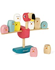 Janod Zigolos Balancing Game - Flamingo - Wooden Stacking and Balacing Game – Helps Early Childhood Development and Hand-Eye Coordination – Ages 3+ Years (J08230)