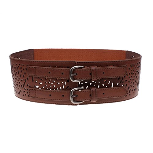 [Womens Obi Belt Double Buckles Vintage Leather Elastic Wide Waist Belt Fashion (Brown)] (Sexy Buckle)