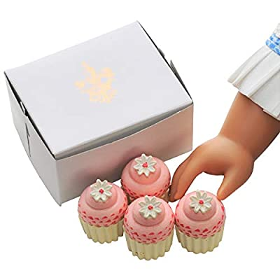 The Queen's Treasures Bakery Collection 4 Piece Mini Cupcakes with Authentic Bakery Box. Cupcakes Designed to Be Compatible with 18 Inch American Girl Furniture, PastryShop & Play Food Accessories: Toys & Games