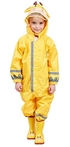 Kids Hooded Coverall Rain Suit Outwear Waterproof Lightweight Rainwear Reflective Rain Coat with Cartoon Pattern, Yellow Giraffe