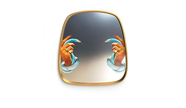 Seletti Toiletpaper Small Mirror Gold Frame Tongue Specchio Piccolo con Decoro Lingua
