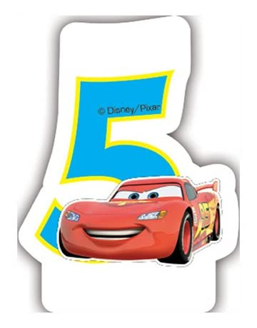 Unique Party Partido Ênico de neón Disney Cars Quinto cumpleaños Vela