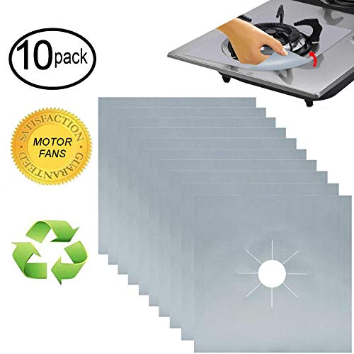 MOTORFANSCLUB 10 Packs Stove Burner Covers Gas Range Protectors Gas Cooktop Liner Cover Clean Mat Pad for Stove 0.2mm Double Thickness Gas Stove Cover for Kitchen Cooking, Dishwasher Safe Silver - Silver Stoves