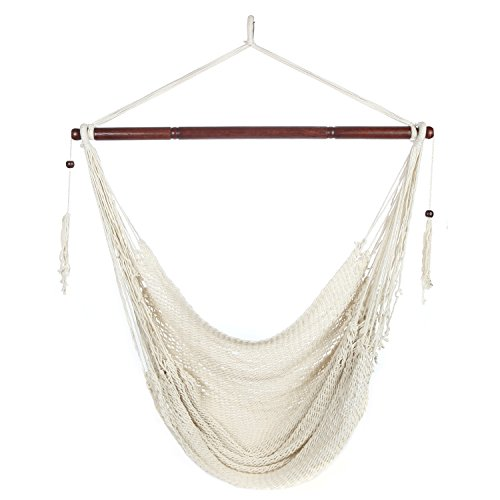 Arad Large White Hammock Chair - Hanging Swing Seat Cotton Rope Construction - Comfortable, Lightweight, Includes Wood Bar - Perfect for Yard, Patio or Beach (Chair Rope Hammock Swing)