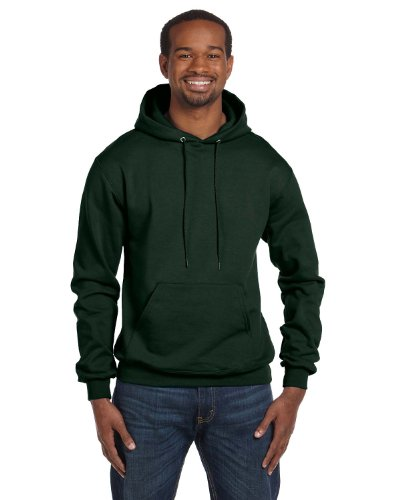 Champion Adult Double Dry Eco Hooded Pullover Fleece, Dark Green, Large ()