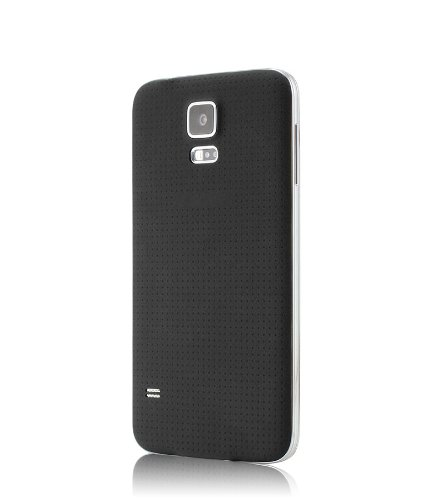 KHOMO Samsung Galaxy S5 Back Battery Case Plate Door with Rubberized Non Slip texture - Black (Door Rubberized Battery)