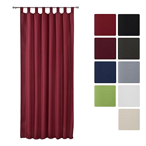 Beautissu® Blickdichter Schlaufen-Vorhang Amelie - 140x245 cm Bordeaux (Wein-Rot) - Dekorative Gardine Schlaufenschal