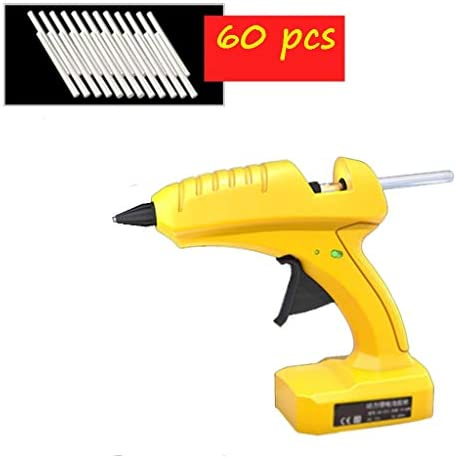 Minmin ワイヤレスホットメルトグルーガン、アートの作成に適した透明色のスティックのり、ノズル抗火傷セットで10-80Wプロ級のホットグルーガン、黄色 ミニ (Color : B)