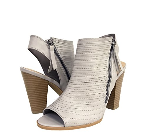 Block Heel Toe Booties Side Peep JAIRO Leatherette Zipper Moto Women's Grey Ankle xgaqZxwY6n
