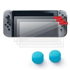 Insten [3-Pack] Nintendo Switch Screen Protector + [2-Pcs] Joy-Con Thumb Grip Stick Caps [Anti-Slip/Protective] For Nintendo Switch Joy Con Controller Thumb Grip [2017 New Release], Style 1 Blue