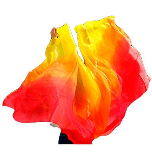 Nimiman Hot Selling Belly Dance Silk Veil Scarf For Women 250114cm (Red Orange Yellow)