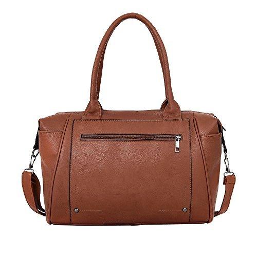 Haute für Diva S NEU Reißverschlusstasche Kunstleder abnehmbarer Riemen Damen Schultertasche - Schwarz, Large rot-braun