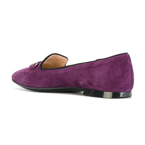 Xyd Confortable Talon Bas Slip Sur Daim Plats Bout Pointu Baller Chaussures Habillées Pour Les Femmes Violet Foncé