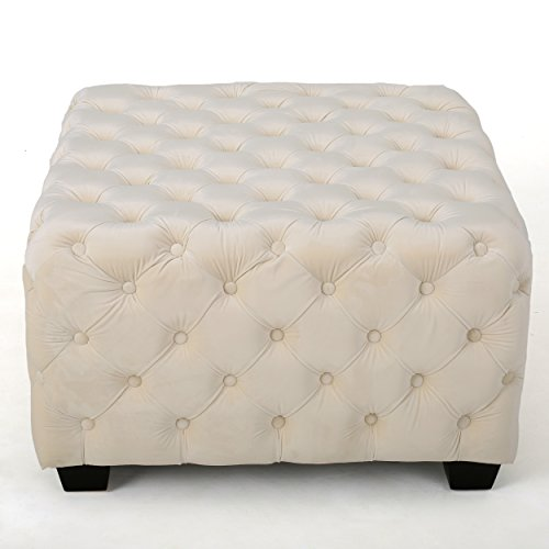 Provence Tufted Velvet Fabric Square Ottoman Bench